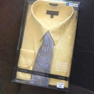 Brand new Men's yellow shirt and tie